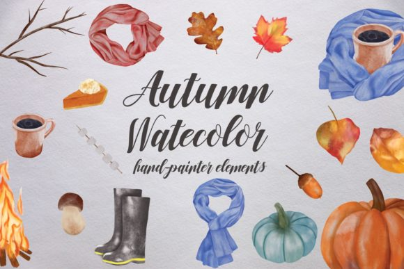 Watercolor Autumn Elements Graphic Illustrations By Dishanti Art