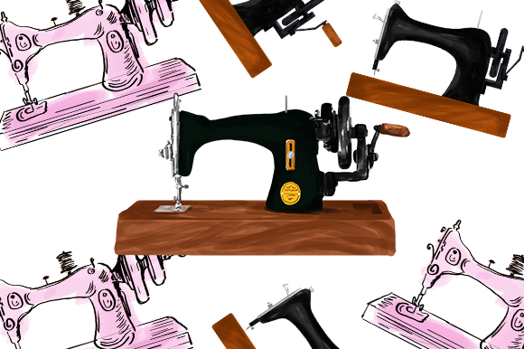 Print on Demand: Watercolor Sewing Machine Drawing Graphic Illustrations By PatternHousePk