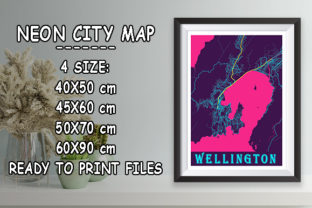 Print on Demand: Wellington - New Zealand Neon City Map Graphic Photos By tienstencil