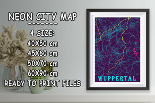 Print on Demand: Wuppertal - Germany Neon City Map Graphic Photos By tienstencil
