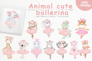 Print on Demand: Animal Cute Ballerina Graphic Illustrations By OrchidArt