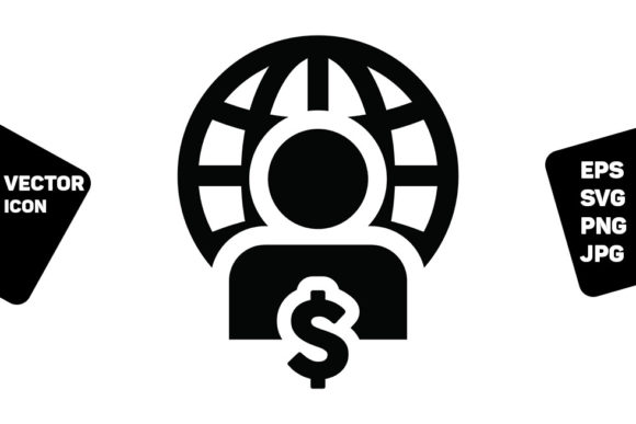 Print on Demand: Ecommerce Icon Vector Globe Dollar Sign Graphic Icons By TukTuk Design