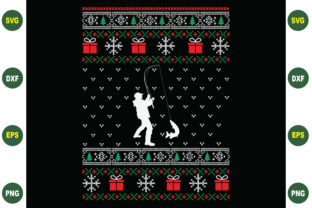 Print on Demand: Fishing Christmas Svg Sweater Design Graphic Crafts By BDB_Graphics