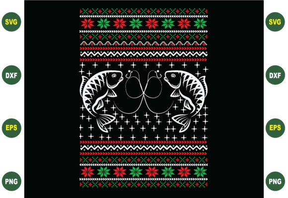 Print on Demand: Fishing Ugly Christmas Sweater Svg Graphic Crafts By BDB_Graphics
