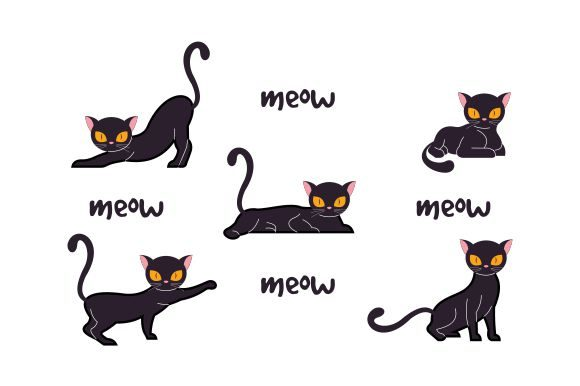 Halloween Cat Collection Ilustration Graphic Logos By 2qnah