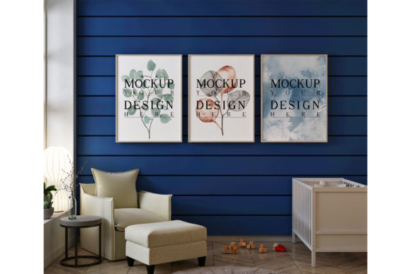Mockup Poster in Blue Nursery Room Graphic Product Mockups By izharartendesign