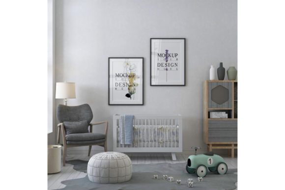 Mockup Poster - Wall in Nursery Room Graphic Product Mockups By izharartendesign
