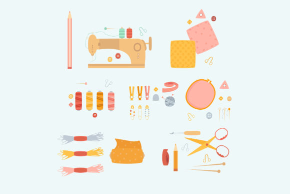 Sewing Needlework Accessories Element Graphic Illustrations By april_arts