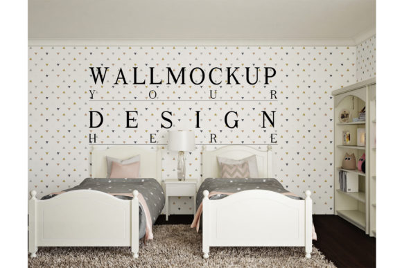 Wall Mockup in Children Bedroom Graphic Product Mockups By izharartendesign