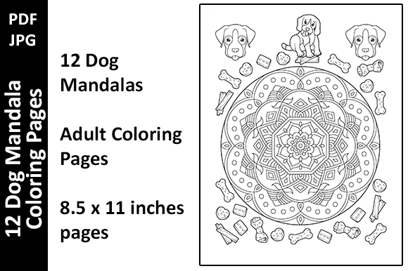 12 Dog Mandalas Unique Coloring Pages Graphic Coloring Pages & Books Adults By Oxyp