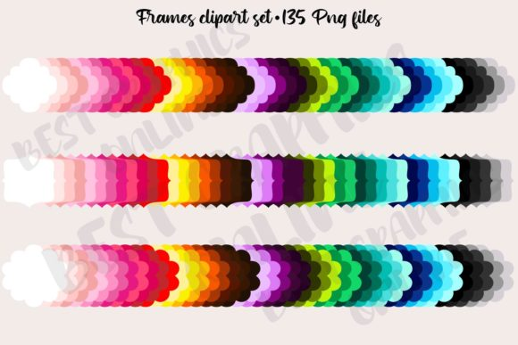 135 Rainbow Frames Clipart Set Labels Graphic Illustrations By bestgraphicsonline