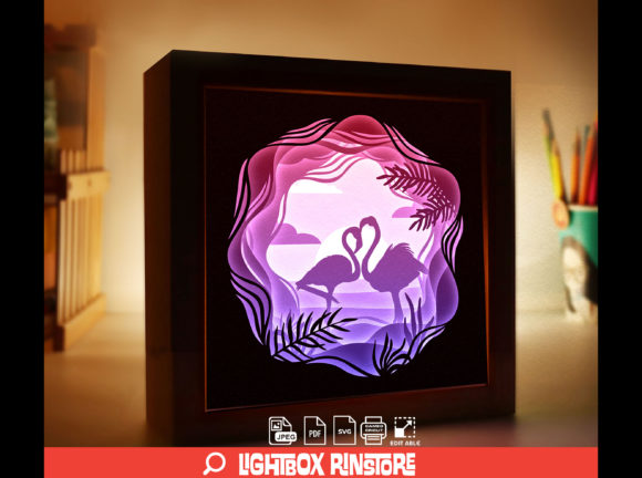152 Flamingo 3D Paper Cut Light Box Graphic 3D Shadow Box By lightbox.rinstore