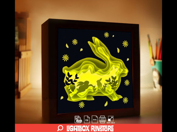 154 Bunny 3D Paper Cut Light Box Graphic 3D Shadow Box By lightbox.rinstore