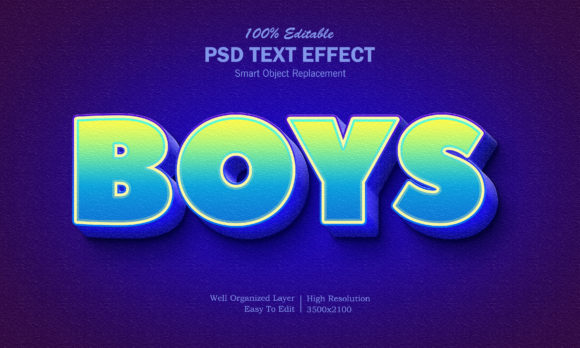 3D Boys Gradient Text Effect Graphic Layer Styles By goldani412