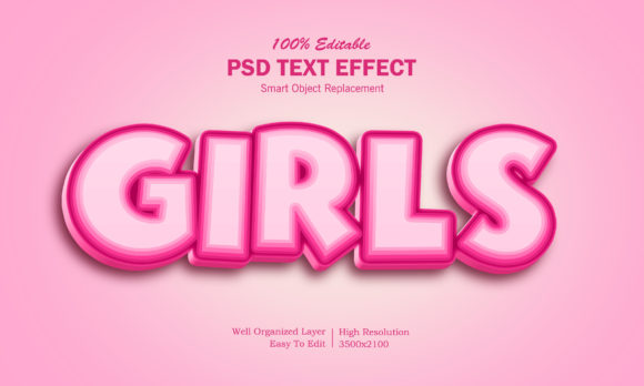 3D Girls Text Effect Graphic Layer Styles By goldani412