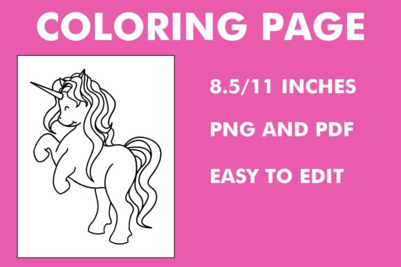 Print on Demand: Adorable Unicorn Coloring Page - KDP Graphic Coloring Pages & Books Kids By Mah Moud