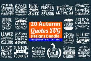 Print on Demand: Autumn Quotes SVG Design Bundle Graphic Print Templates By Design Store
