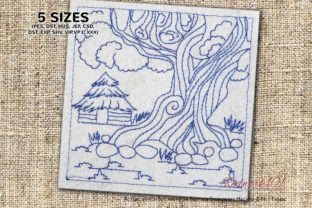 Big Tree with Small Hut Cities & Villages Embroidery Design By Redwork101