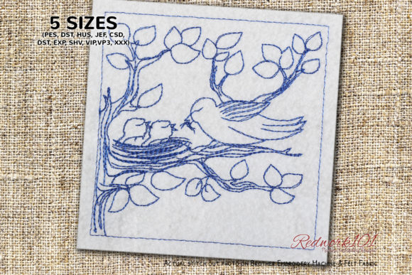 Bird and Chicks Eating a Worm Embroidery