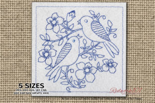 Birds Sitting on Flower in Garden Birds Embroidery Design By Redwork101