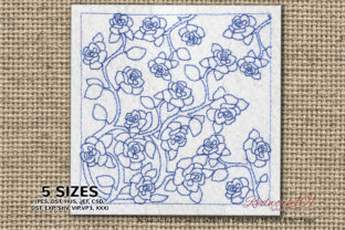 Blue Rose Flower Pattern Paisley Embroidery Design By Redwork101