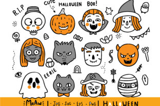 Cartoon Cute Head Monster Halloween Graphic Illustrations By Meawsally
