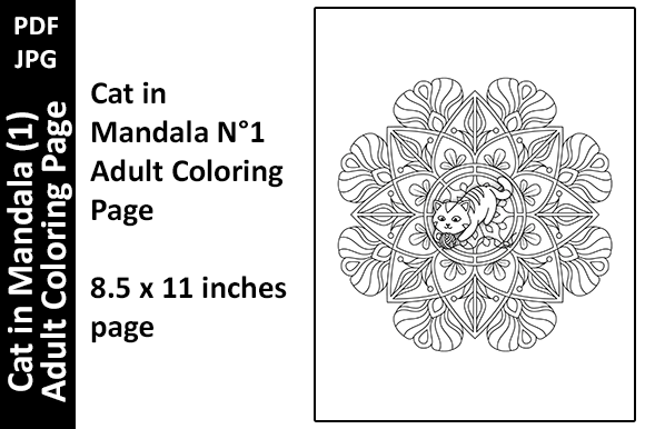 Cat in Mandala (1) Adult Coloring Page Graphic Download
