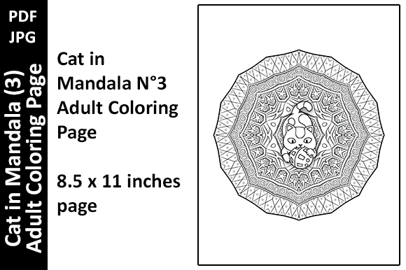 Cat in Mandala (3) Adult Coloring Page Graphic Download