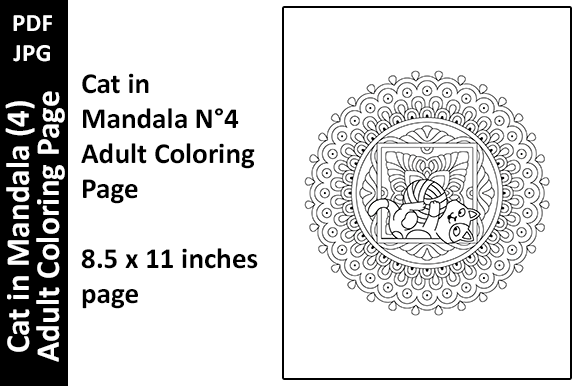 Cat in Mandala (4) Adult Coloring Page Graphic Download