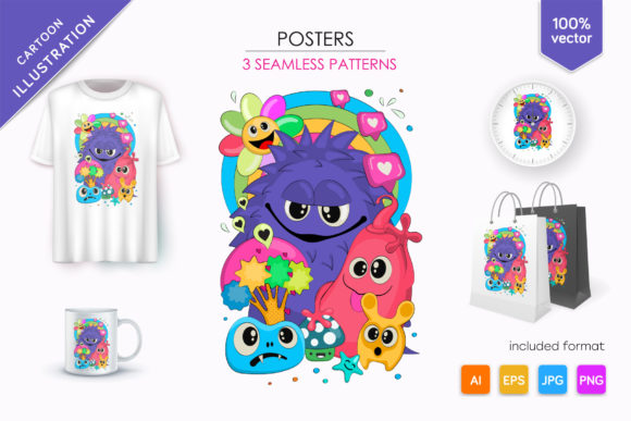 Cheerful Company of Monsters Graphic Illustrations By andreykeno2020