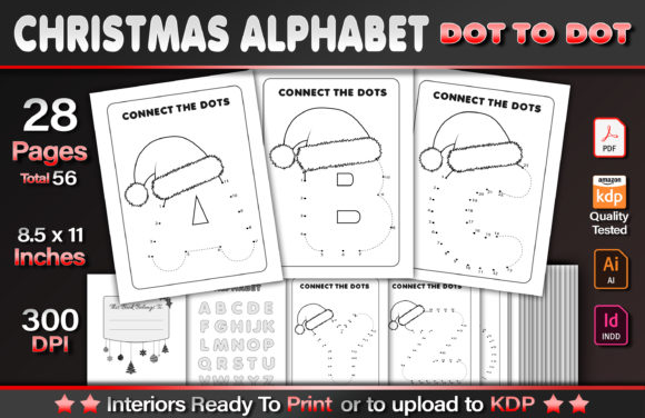 Christmas Alphabet Dot to Dot Graphic KDP Interiors By okdecoconcept