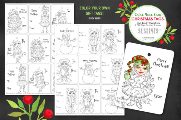 Print on Demand: Christmas Gift Tag Coloring Set Graphic Coloring Pages & Books Adults By SLS Lines