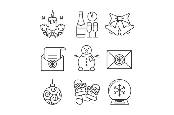 Print on Demand: Christmas and New Year Linear Icons Set Graphic Icons By bsd studio