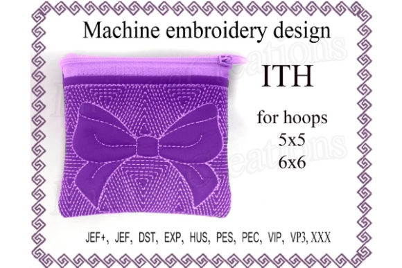 Cosmetic Bag Zippered Bag Ribbon - in the Hoop Embroidery
