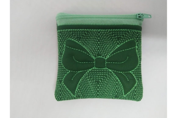 Cosmetic Bag Zippered Bag Ribbon - in the Hoop Embroidery Item