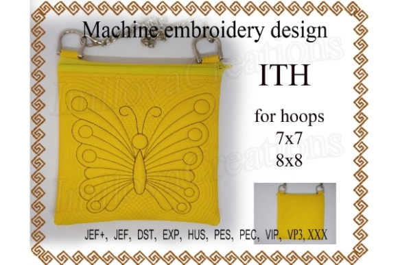 Cosmetic Bag Zippered Bag Butterfly - in the Hoop Embroidery