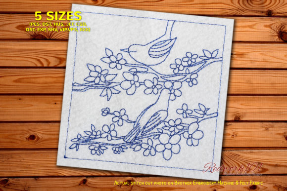 Couple of Bird Sitting on Tree Branch Birds Embroidery Design By Redwork101