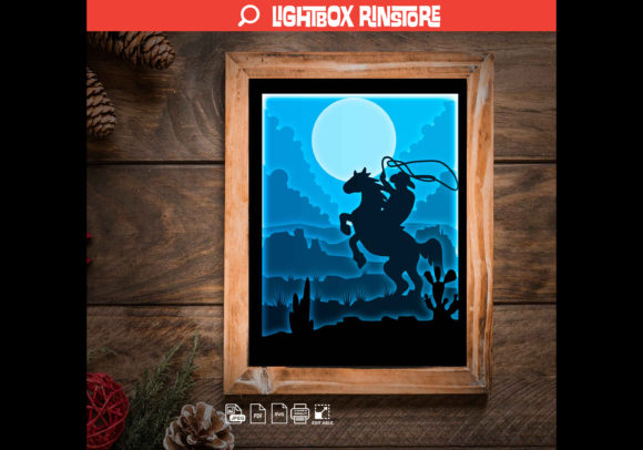 Cowboy 3D Paper Cut Light Box Graphic 3D Shadow Box By lightbox.rinstore