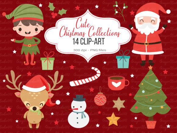 Cute Christmas Cartoon Clip-Art Graphic Illustrations By Gingerstudio072