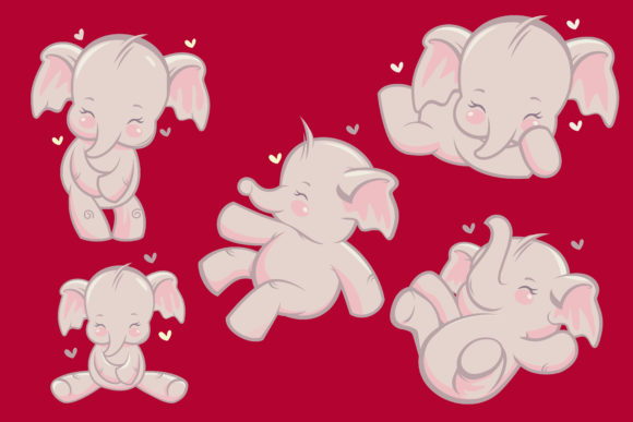 Cute Happy Elephant Baby Cartoon Vector Graphic Illustrations By onoborgol