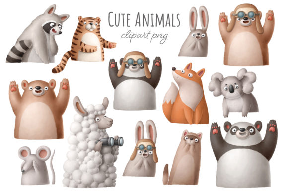 Print on Demand: Cute Cartoon Animals Clipart Graphic Illustrations By Architekt_AT
