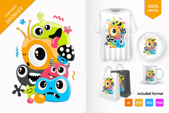 Cute Doodle Monsters Graphic Illustrations By Keno Shop
