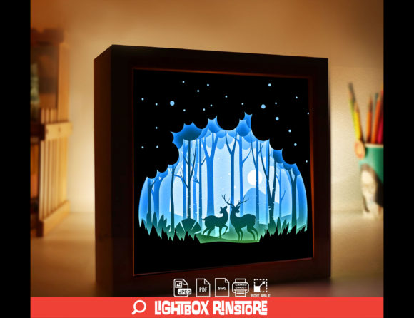 Deer Spirit 3D Paper Cut Light Box Graphic 3D Shadow Box By lightbox.rinstore