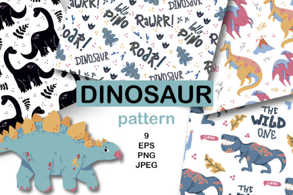Print on Demand: Dinosaur Digital Papers, Dinosaur Papers Graphic Patterns By Zolotovaillustrator