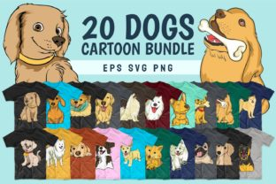Print on Demand: Dog Bundle SVG Cartoon T-shirt Designs Graphic Print Templates By Universtock