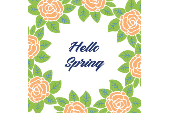 Elegant Hello Spring Greeting Card Decor Graphic Backgrounds By stockfloral
