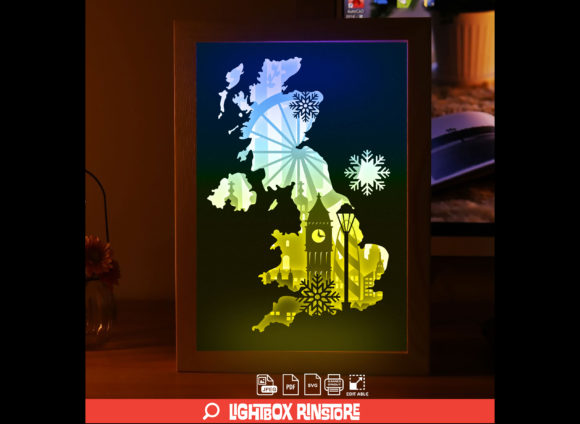 England London 3D Paper Cut Lightbox Graphic 3D Shadow Box By lightbox.rinstore