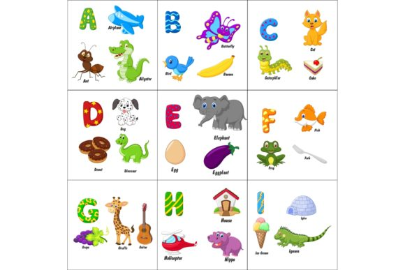 English Alphabet with Animals Bundle Graphic Illustrations By tigatelusiji