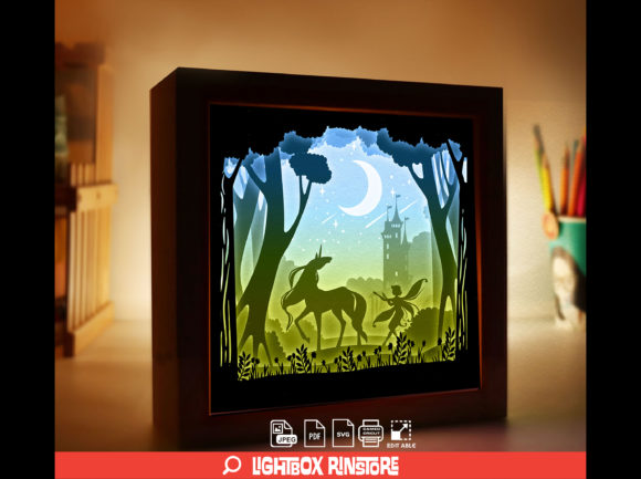 Fairy Unicorn 3D Paper Cut Light Box Graphic 3D Shadow Box By lightbox.rinstore