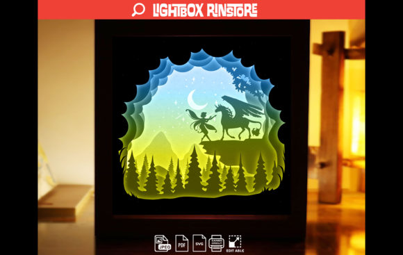 Fairy Unicorn Paper Cut Light Box Graphic 3D Shadow Box By lightbox.rinstore
